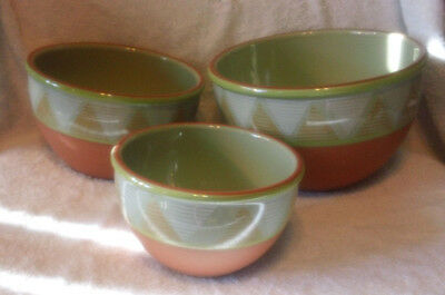 3 Pc. Set Glazed Terra Cotta Mixing Bowls from Portugal