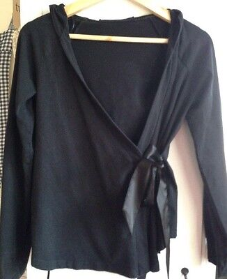 Black  Pregnancy Cotton Hoodie  Wrap Jumper, Size S, With Ribbon Satin  Bow