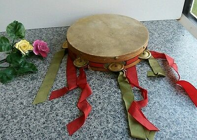"Vintage 10"" Tambourine/Timbrel with Skin Head with Ribbons Musical Instruments"
