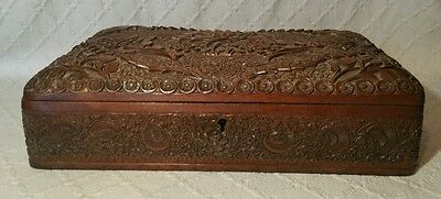 Antique Ornately Decorated Wooden Jewellery Box