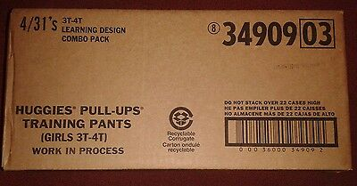 HUGGIES Pull Ups Training Pants GIRLS Size 3T- 4T (124 Count) Learning Design