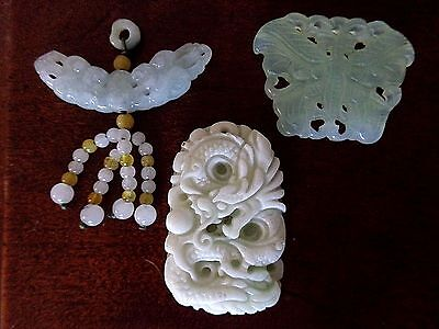 Lot of 3 Vintage Chinese Celadon/ Heitian  Carved Jade Pendants Amulets 49.6 g