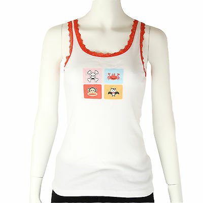 Paul Frank $34 White Red Lace Skurvy Julius & Friends Pajama Sleep Tank Top NWT
