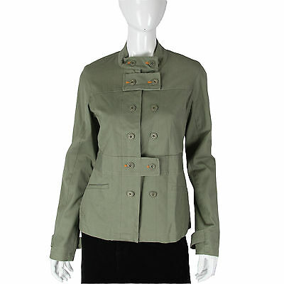 Paul Frank $114 Olive Green Coat Jacket Ladies Button Zip Up Rare Ribbed Jacket