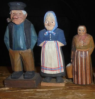 Collection of 3 Vintage Hand Carved Wooden Figures