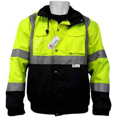 GLO-B1-XL, ANSI Class 3, HI Vis, 5-in-1 Winter Bomber Jacket, Waterproof, Sz:XL