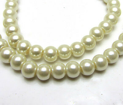 New 6MM 100pcs Charm Round  Beads Glass Spacer Pearls Milk  Color