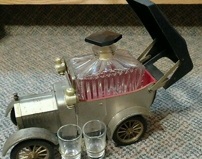 Vintage Musical Car Whiskey,Scotch Decanter with Shot Glasses.