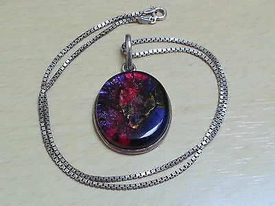 Sterling Silver Glass Pendant With A Chain