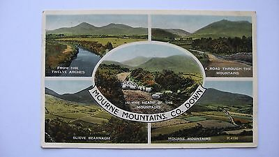 Old Postcard R 4196 multi-view Mourne Mountains, Co. Down 1956 Valentine's