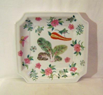 Chinese Porcelain Square Dish Famille Rose Enamelled Insects Vegetables C.20th