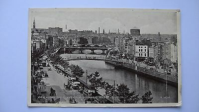 Old Postcard R.1674 view along The Quays from O'Connell Bridge DUBLIN 1953