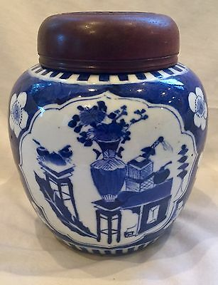 Qing Dynasty Chinese Blue & White Porcelain Ginger Jar w/ Carved Wood Lid Signed