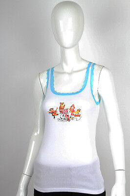 Paul Frank Large $33 White Julius Friends Rock Band Turquoise Lace Sleep PJ Tank