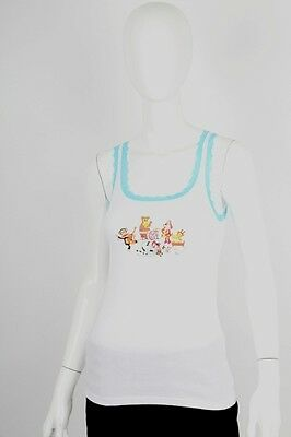 Paul Frank MED $33 White Julius Friends Rock Band Turquoise Lace Sleep Tank NWT