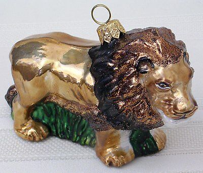 NEW African Lion Male Blown Glass Ornament Osa Johnson Carl Akeley Gift Box Xmas