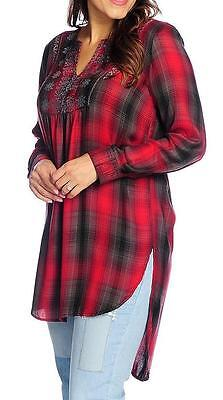 NEW - STUDIO WEST  Woven Plaid Long Sleeved Embroidered Y-Neck Tunic - Sz. M