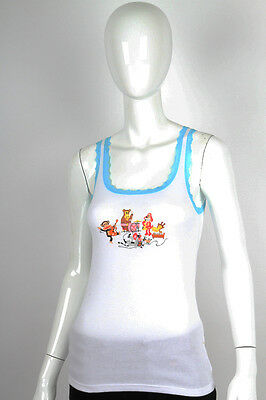 Paul Frank Small $33 White Julius Friends Rock Band Turquoise PJ Sleep Tank NWT