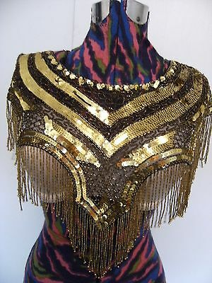 vintage beaded sequin collar gold and black