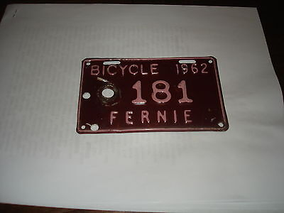 rare 1962 bicycle license plate from fernie bc