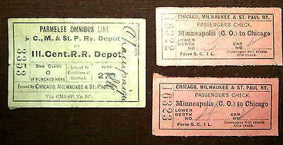 Antique 1911 Chicago Milwaukee & St Paul Railway & Omnibus Ticket Passes.