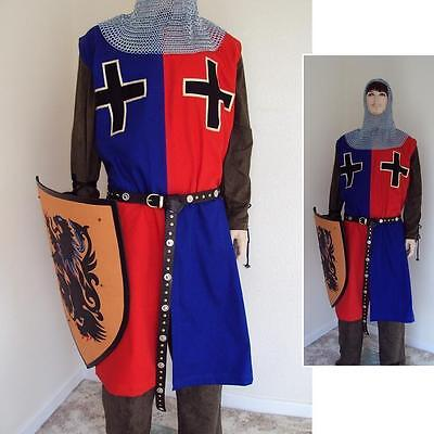Blue/Red Medieval Knights Surcoat Perfect For Stage Costume LARP or Re-enactment