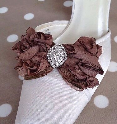 Brown Bow SHOE CLIPS  BRIDAL WEDDING Evening Shoes *free Shipping**UK SELLER*