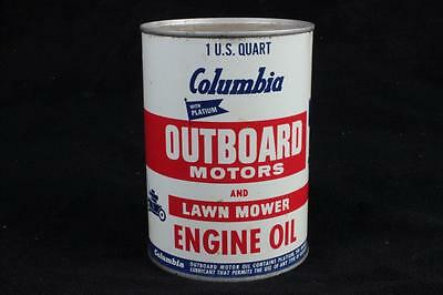 UNOPENED Vintage 1 Qt Quart Columbia Outboard Motor & Lawn Mower Engine Oil Can