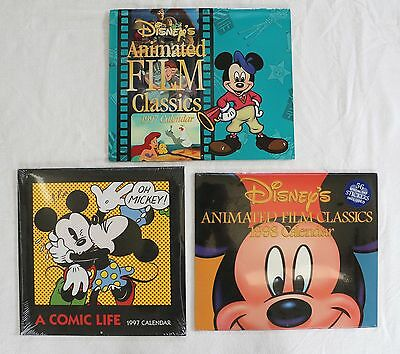 Lot of 3 Vintage Disney Mickey Minnie Mouse & Film Classics Calendars 1997 1998