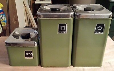 Vintage Stainless Steel green Kitchen Canister Set Flour Sugar Tea