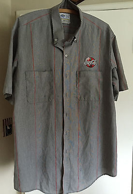 Vintage Coca Cola Gray w/Red Stripe Delivery Driver Coke Shirt Mens XL 17-17 1/2