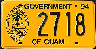 "GUAM U.S.A ""  GREAT SEAL - PALM TREE - BOAT "" 1994  USA Graphic License Plate"