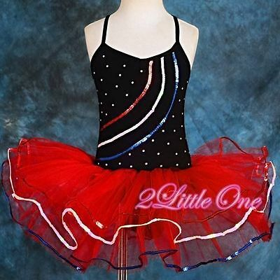 Ballet Tutu Dance Costume Pageant Fairy Dress Up W Arm Mitts Black Red 2-3T #034