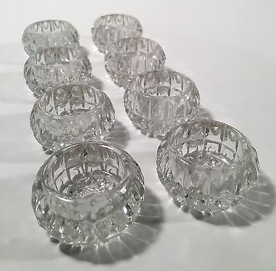 Lot of 8 Vintage Crystal Clear Glass Salts