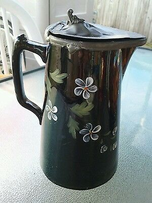 Antique English black enamel porcelain pitcher with white flowers & pewter lid