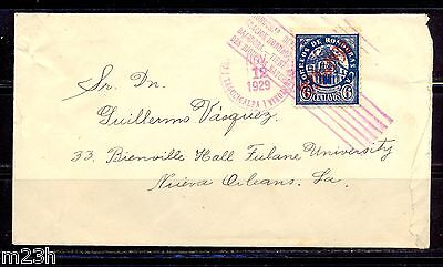 Honduras: Cover sent from Tegucigalpa to New Orleans on 1929. Stamp overprint.