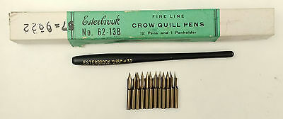 Esterbrook No. 62-13B Fine Line Crow Quill Pens with 12 Nibs