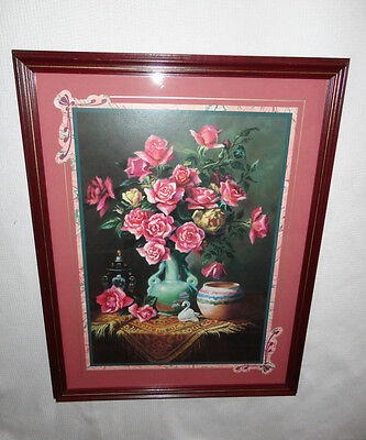 Home Interiors Large '' Vase Pink Roses onTable ''Picture  19.5''x 25'' Gorgeous