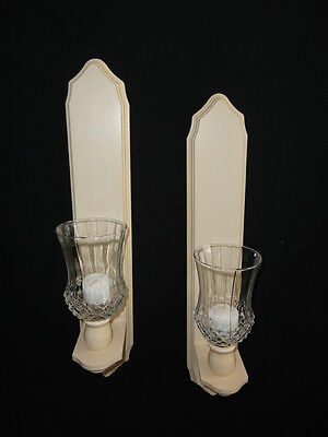 Home Interiors Set of 2- Off White Wood Wall Sconces & Votive Cups Gorgeous