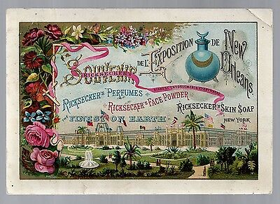 New Orleans 1885 Exposition trade card - Ricksecker's Perfumes - Wellington, OH