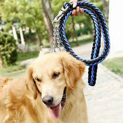 High Chain Leather Collar Top Quality Large Dogs Leashes Dog Rope Traction
