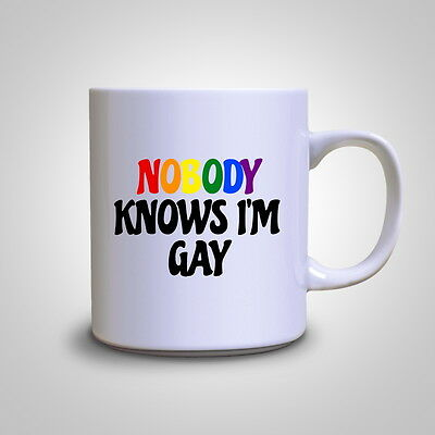 Nobody Knows I'm Gay Funny Hipster Pride Rainbow Mug Tea Gift Coffee Cup