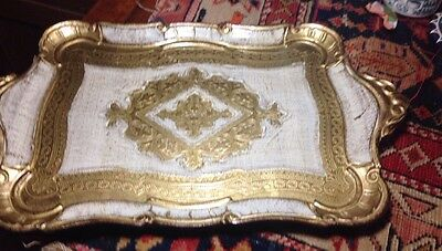 Vintage Decorative Florentine Serving Tray Italy Gilded 10x17""