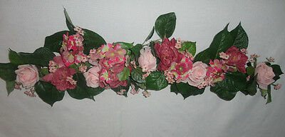 Home Interiors  40'' Mixed Pink Flowers '' Swag/ Accents