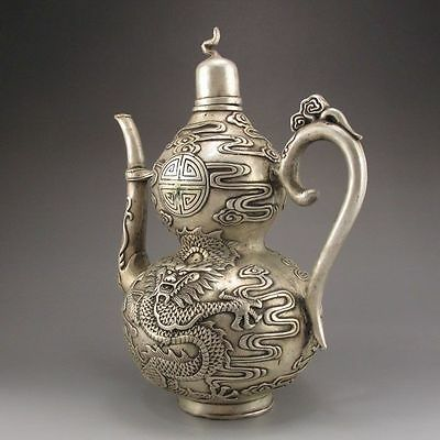 Old Antique Chinese Handmade Tibet Silver Bronze Teapot w Dragon