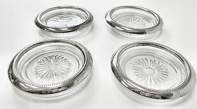 LOVELY!! 4Pc Vtg INTERNATIONAL SILVER CO ~ Sterling Silver & Cut Glass Coasters
