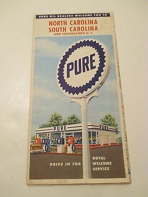 Vintage PURE OIL North & South Carolina Oil Gas Service Station MAP~1950 Census