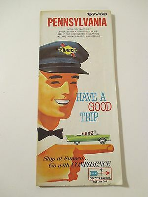 Vintage 1967-1968 SUNOCO PENNSYLVANIA Gas Service Station Road Map