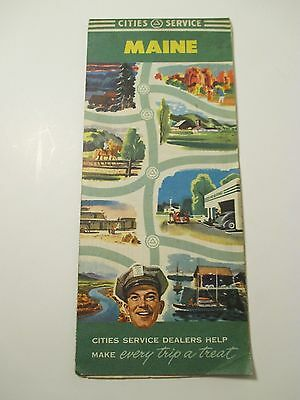 Vintage CITIES SERVICES Maine Oil Gas Service Station Road Map