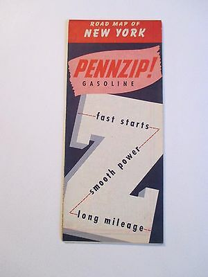Vintage 1967 PENNZIP PENNZOIL NEW YORK Oil Gas Station Road Map~1950 Population